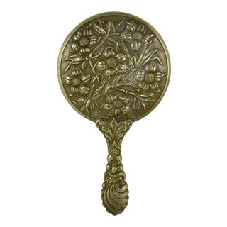 Victorian Era Brass Floral Repousse Vanity Hand Mirror For Sale