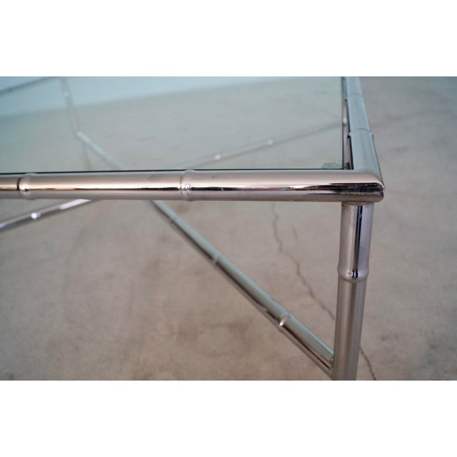 1960s Hollywood Regency Chrome Bamboo Coffee Table For Sale - Image 10 of 13