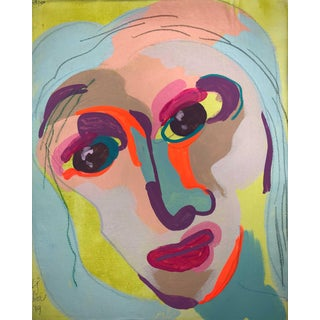 "Contemporary Abstract Portrait Painting ""Zany Lady"" For Sale"