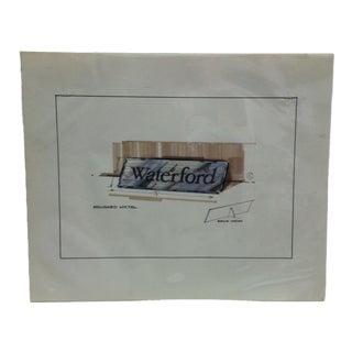 "1980s Original ""Waterford - Brushed Metal"" Displayco East Advertising Drawing For Sale"