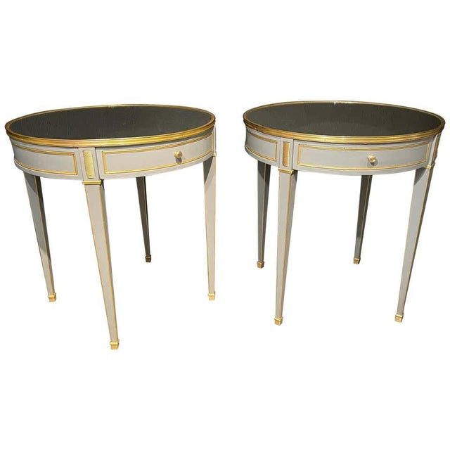 Gray Vintage Jansen Style Painted End or Lamp Tables, Bouilliote Form - a Pair For Sale - Image 8 of 8