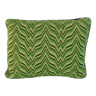 1970s Vintage Handmade Zigzag Green Pillow For Sale