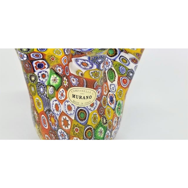 Vintage Murano Glass Hankerchief Vase - Millifiori and Gold by Campanella- Signed - Italy Italian Palm Beach Boho Chic Mid Century Modern For Sale - Image 9 of 13