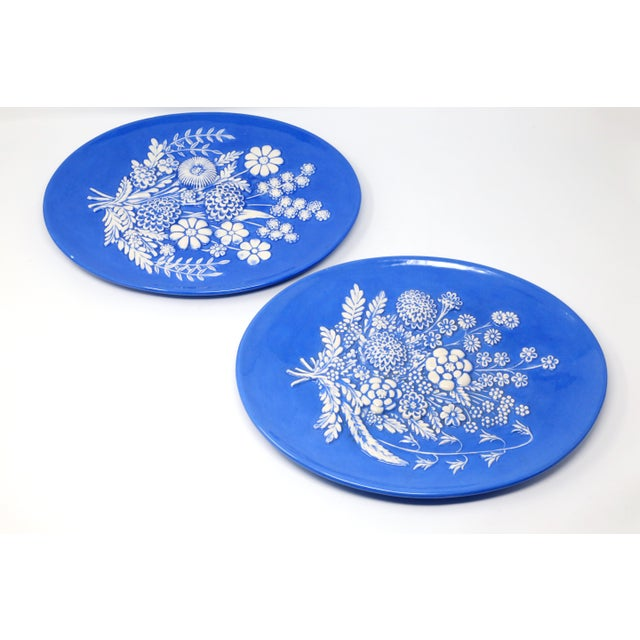 Vintage Blue and White Embossed Flowers Plates - Set of 2 For Sale - Image 10 of 10