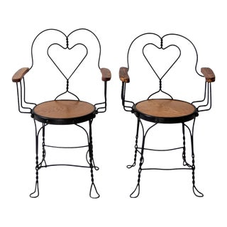 Antique Ice Cream Parlor Arm Chairs - Set of 2 For Sale