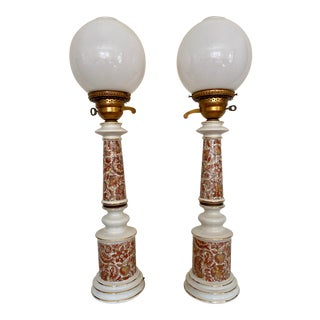 Late 19th Century Painted Crackled Porcelain Oil Lamps With Glass Globes - a Pair For Sale
