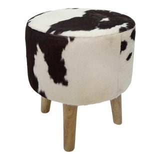 Wooden Leg Cowhide Stool For Sale