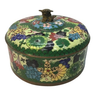 Chinese Vintage Cloisonné Box With Brass Foo-Dog Finial For Sale