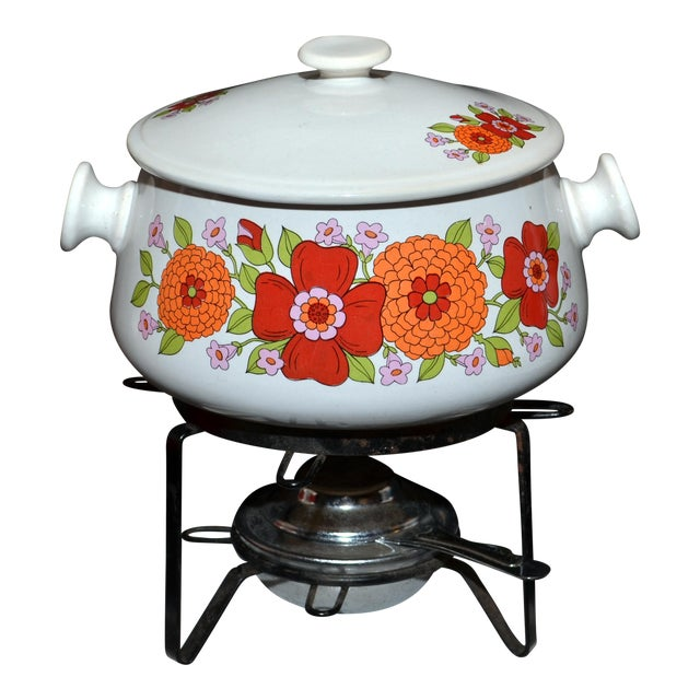Floral Design Stoneware Chafing Dish For Sale