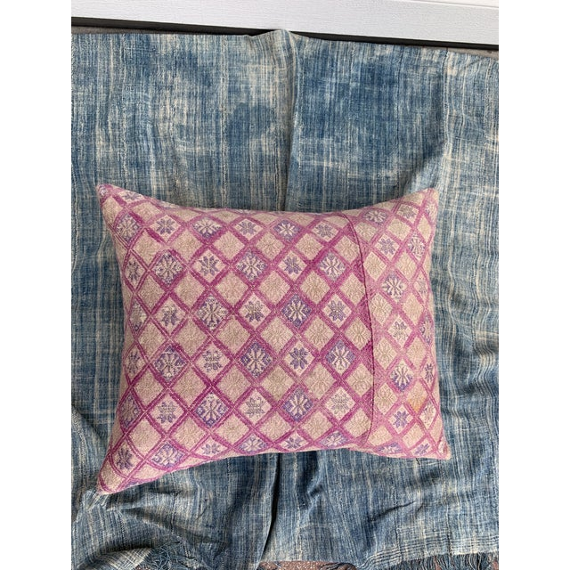 Absolutely gorgeous custom pillow made from a hand woven silk antique tribal wedding quilt featuring vibrant colors in...