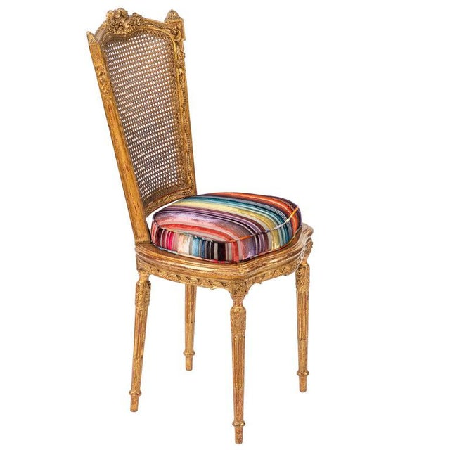 Wood 19th C. French Giltwood Side Chair With Donghia Stripped Silk Velvet For Sale - Image 7 of 10