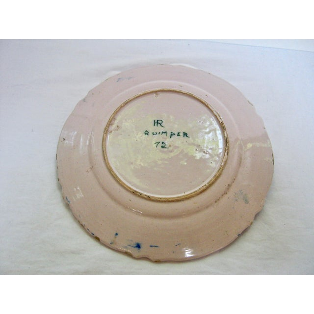 French Antique Henriot Quimper Pottery Plate For Sale - Image 3 of 5