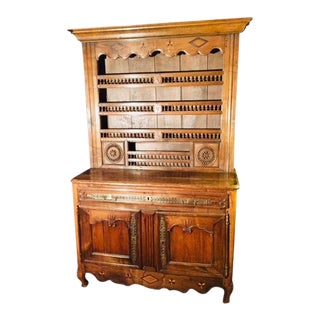 Late 18th Century to 1800 French Buffet With Inlaid Stars & Spindles Brittany For Sale
