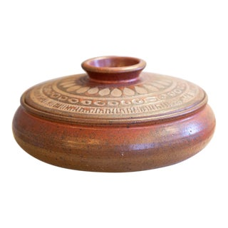 Studio Pottery Lidded Dish Signed by Vic Bracke For Sale
