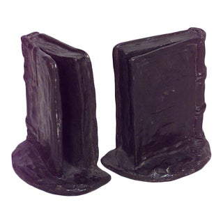 American Victorian Bronze Book Bookends - a Pair For Sale