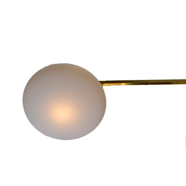 Italian Asymmetric Six Opaline Glass Globe and Brass Chandelier For Sale - Image 4 of 5