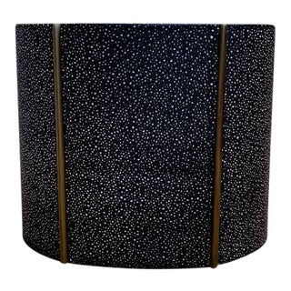 Faux Shagreen Leather Wastebasket With Gilt Trim, Suede Lined. For Sale