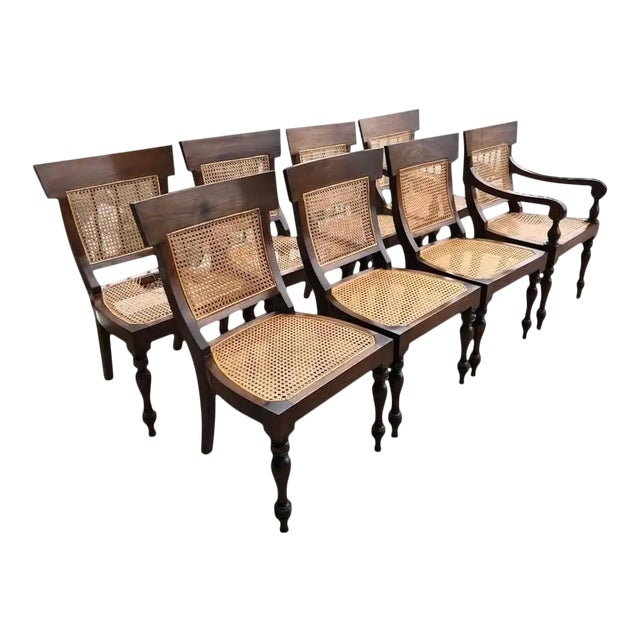 Set of Eight Anglo-Indian Rosewood Regency Dining Chairs For Sale