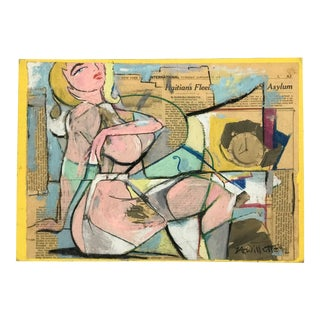 Mixed Media Gouache Collage Painting by Listed Nyc Artist L. A. Willette Nude For Sale