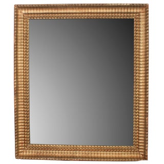 Gilt Napoleon III Mirror With Small Flame Stitch Pattern Trim Frame For Sale