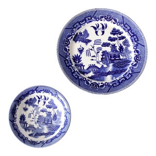 Vintage Japanese Blue Willow Ware Plate and Bowl Set of 2 For Sale