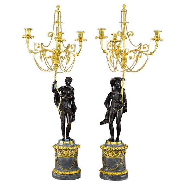 Gold 18th Century Russian Figural Bronze Candelabra - A Pair For Sale - Image 8 of 8