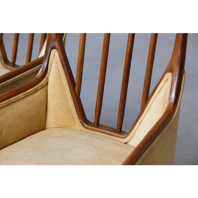 Mid 20th Century Pair of Mid-Century High Back Walnut Lounge Chairs For Sale - Image 5 of 10