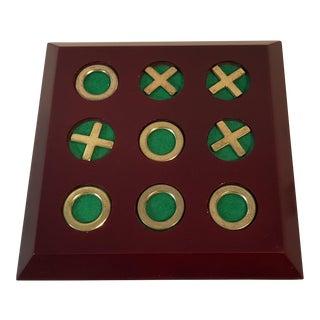 Vintage Cherry Wood & Brass Tic Tac Toe Set