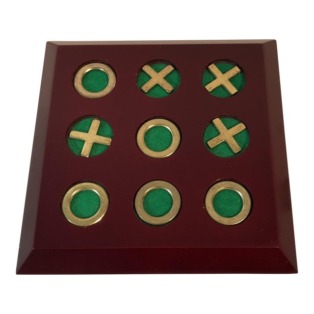 Vintage Cherry Wood & Brass Tic Tac Toe Set - Image 1 of 11