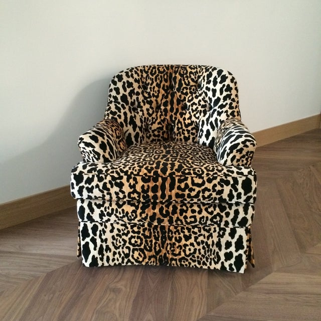 Primitive Mid Century Velvet Leopard Print Club Chair For Sale - Image 3 of 7