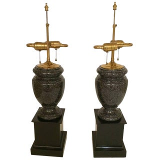 Handsome Pair of Black Granite Urn Shaped Lamps For Sale