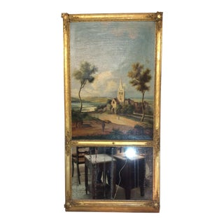 Italian 19th Century Trumeau Mirror With Oil Painting