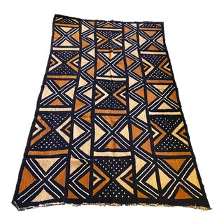 "Brown/Mustard/Black/White Mud Cloth Mali 68"" by 41"" For Sale"
