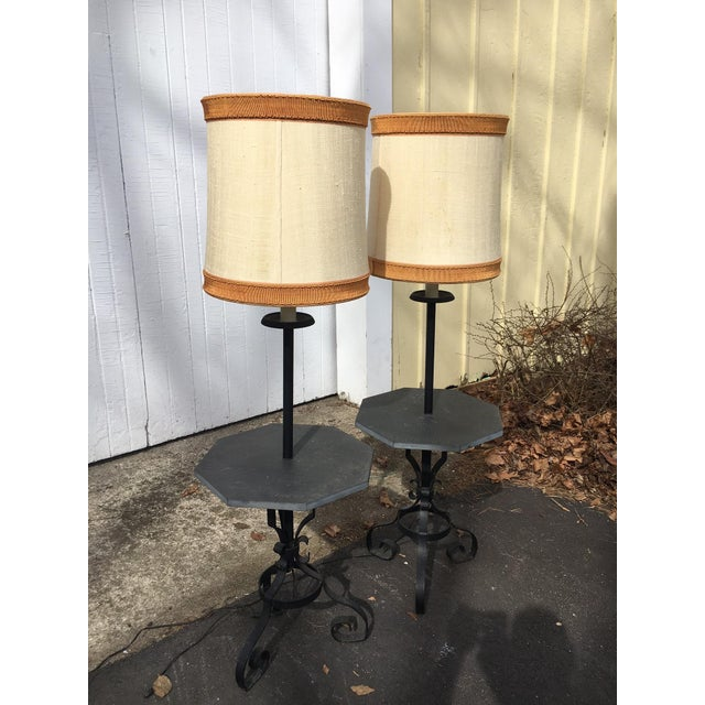 Stone Table Floor Lamps- A Pair - Image 2 of 4
