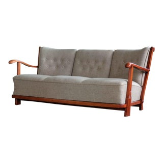 Fritz Hansen 1940's Model 1594 Spindle Back Sofa Danish Midcentury For Sale