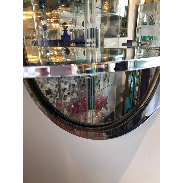 Mid Century Modern Design Institute America Chrome & Brass Mirror with Mirror Console - Image 7 of 11