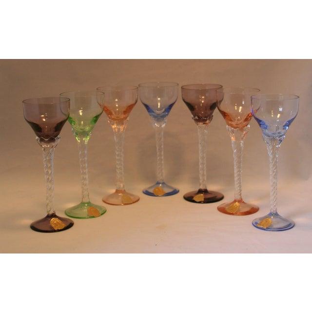 Set of 7 Blefeld Hand Crafted Crystal Multi Color Stemmed Cocktail Cordial Glasses - Image 2 of 7