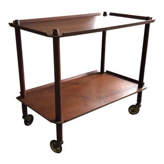 Unusual Danish Teak Bar Cart With Bent Plywood Shelves For Sale