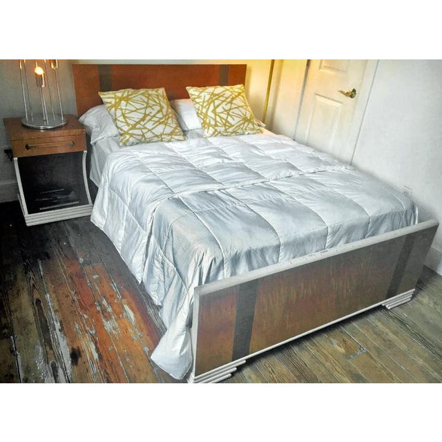This is a unique 1930s Streamline Moderne Bed and nightstand in flame/tiger maple and burlwood. The lines are crisp and...
