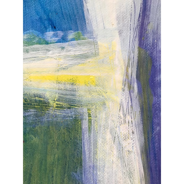 """Abstract 1980s Patricia Zippin Abstract Mixed Media Painting """"View Through the Window"""" For Sale - Image 3 of 6"""