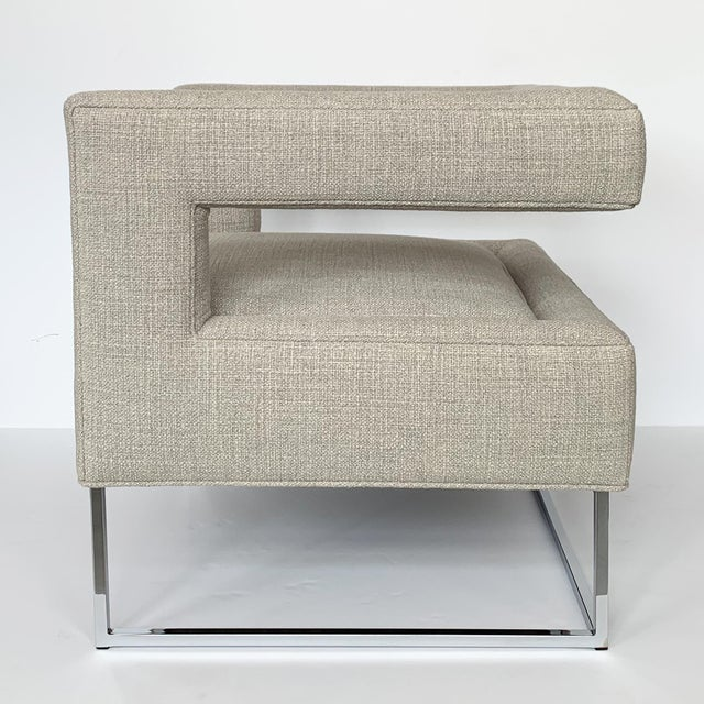 Chrome Milo Baughman Open Back Lounge Chairs - a Pair For Sale - Image 7 of 13