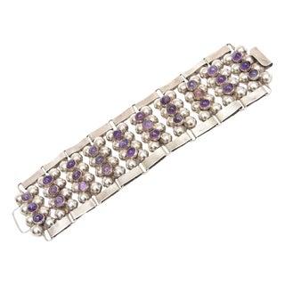 Hallmarked Mid Century Modern Sterling Silver & Amethyst Cuff Bracelet For Sale