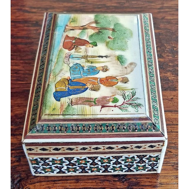 Persian Handpainted Khatam Mosaic Trinket Box For Sale In Dallas - Image 6 of 9