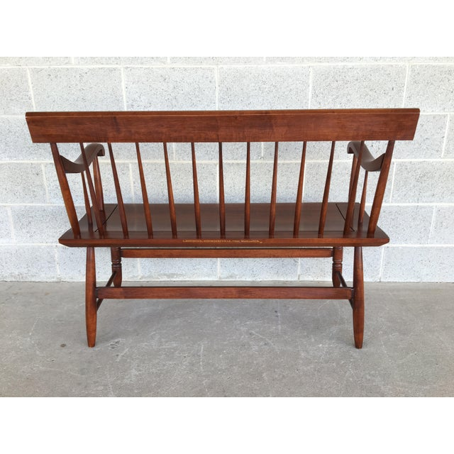 Brown L. Hitchcock Riverton Harvest Windsor Style Deacon's Bench For Sale - Image 8 of 10