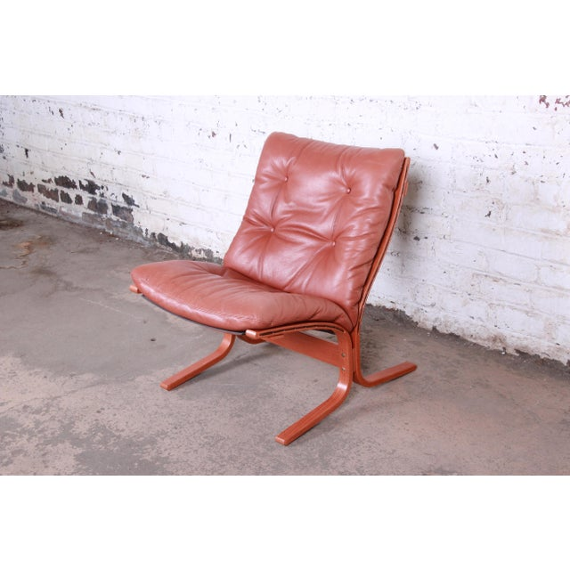 Ingmar Relling for Westnofa Bentwood Teak and Leather Siesta Lounge Chair and Ottoman For Sale - Image 9 of 13