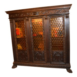 Gothic Carved Wood Bookcase With Yellow Circle Glass Doors For Sale