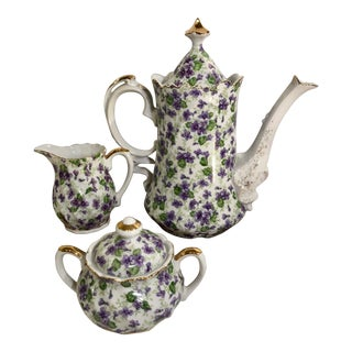 Traditional English Victorian 1950s Lefton's Chintz Violet Pattern Tea Set - 5 Pc. Purples and Green Leaves 22k Gold Trim For Sale