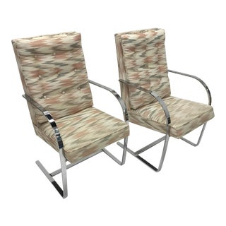 Pair of 1970s Vintage Chrome Frame Upholstered Armchairs . For Sale