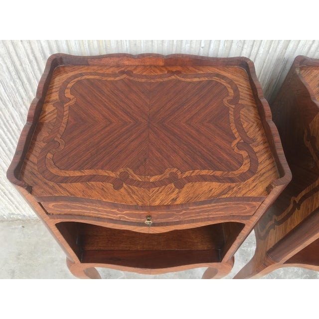 Pair of French Marquetry Walnut Bedside Tables With Drawers and Open Shelf For Sale - Image 11 of 13