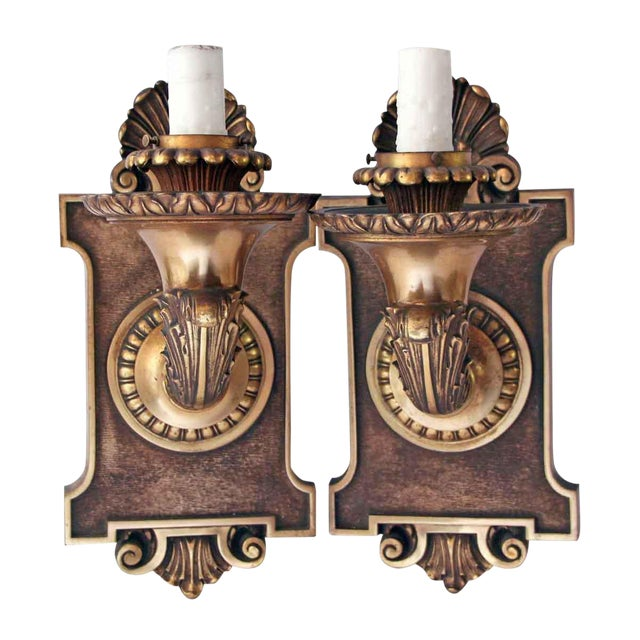 American Made Bronze Caldwell Sconces - a Pair For Sale
